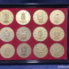 Trofeos y medallas: 12 MEDALLAS PAISES MIEMBRO DE LA CEE EUROPA 19,5X26CMS. Lote 213406890