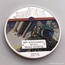 Trofeos y medallas: MONEDA PLATA MISION ATERRIZAJE LUNAR 50 ANIVERSARIO - NASA - ESTADOS UNIDOS DE AMERICA. Lote 235930875