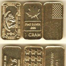 Trofeos y medallas: 3 LINGOTES EN ORO PURO 24 KT. 1 GRAMO. PLATA PURA 999.. Lote 244638180