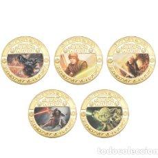 Trofeos y medallas: COLECCION 5 MONEDAS STAR WARS ORO 24KT - EDICION LIMITADA - CAPSULA PROTECTORA. Lote 215918422