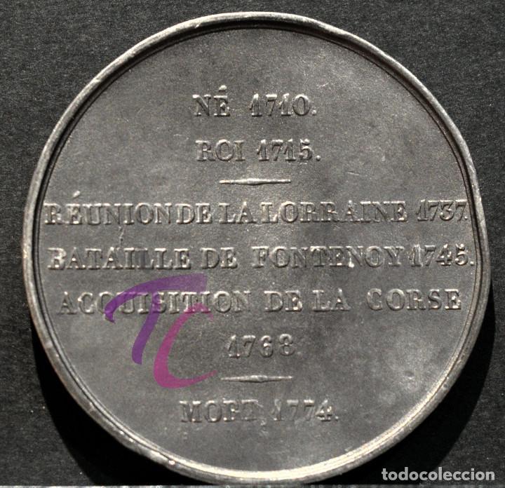 Trofeos y medallas: MEDALLA EN PLOMO LOUIS XV REY DE FRANCIA Y DE NAVARRA (1715-1774) FIRMA CASQUE - Foto 3 - 188696725