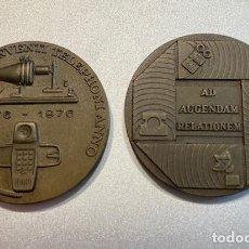 Trofeos y medallas: 2 MONEDAS BRONCE CONMEMORATIVAS COMPAÑÍA TELEFONICA NACIONAL DE ESPAÑA 1974, 1976. Lote 218692780