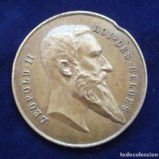 Trofeos y medallas: EFIGIE DE S.M. LEOPOLDO II, REY DE LOS BELGAS. MEDALLÓN DE BRONCE. LEOPOLD II ROY DES BELGES.. Lote 220534301