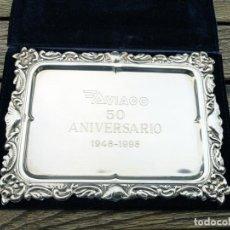 Trofeos y medallas: AVIACO BANDEJA DE ALPACA 50º ANIVERSARIO 1948 - 1998. Lote 220678845