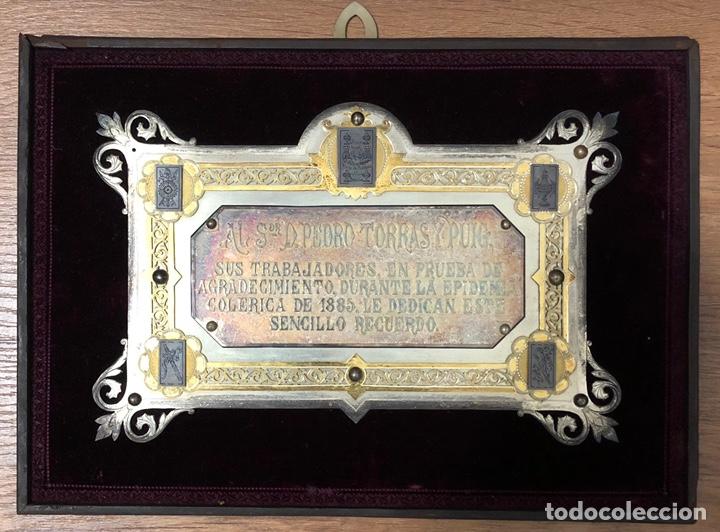 Trofeos y medallas: Antigua placa conmemorativa en plata, y plata dorada. - Foto 2 - 222017096