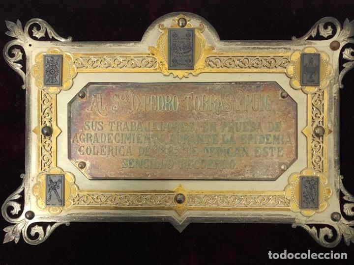 Trofeos y medallas: Antigua placa conmemorativa en plata, y plata dorada. - Foto 3 - 222017096