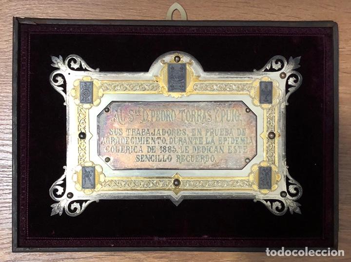 ANTIGUA PLACA CONMEMORATIVA EN PLATA, Y PLATA DORADA. (Numismática - Medallería - Trofeos y Conmemorativas)