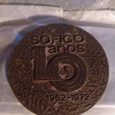 Trofeos y medallas: SOFICO 10AÑOS MEDALLA CONMEMORATIVA. Lote 225078120