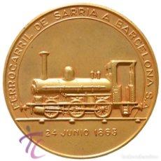 Trofeos y medallas: MEDALLA EN BRONCE TREN 1963 1863 PRIMER CENTENARIO FERROCARRIL DE SARRIA A BARCELONA CALICO . Lote 192604318