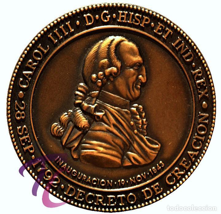 Trofeos y medallas: MEDALLA EN BRONCE DEL BICENTENARIO DEL MUSEO NAVAL DE MADRID CARLOS IV 1792 - Foto 2 - 78281341