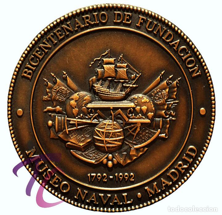 Trofeos y medallas: MEDALLA EN BRONCE DEL BICENTENARIO DEL MUSEO NAVAL DE MADRID CARLOS IV 1792 - Foto 3 - 78281341