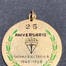 Trofeos y medallas: MEDALLA 25 ANIVERSARIO STATERM EMPRESA THERMO ELECTRO SA1943 1968 PLATA ESMALTE SOCIO FUNDADOR 37MM. Lote 233515665