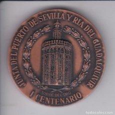Trofeos y medallas: MEDALLA DE I CENTENARIO DE LA JUNTA DEL PUERTO DE SEVILLA Y RIA DEL GUADALQUIVIR - BARCO. Lote 236015230