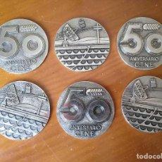 Trofeos y medallas: 6 MEDALLONES MEDALLAS CONMEMORATIVAS 50 ANIVERSARIO C.T.N.E. COMPAÑÍA TELEFONICA NACIONAL DE ESPAÑA. Lote 236387315