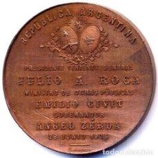Trofeos y medallas: MEDALLA SALTA OBRAS SALUBRIDAD 1903 PT ROCA COBRE MONEDASALE. Lote 244396700