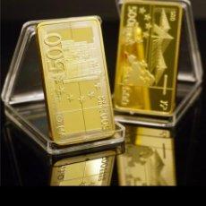 Trofeos y medallas: ESPECTACULAR LINGOTE 500 € ORO 24K LAMINADO .. Lote 246121305