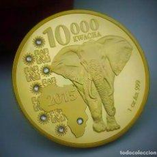 Trofeos y medallas: MONEDA CONMEMORATIVA DE ELEFANTE AFRICANO, 1 OZ DE ORO 24K, KWACHA ANIMAL 10000.. Lote 248656175
