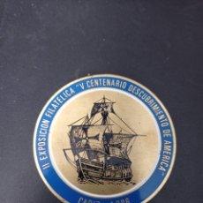 Trofeos y medallas: MEDALLA II EXPOSICION FILATELICA ,V CENTENARIO DESCUBRIMIENTO DE AMERICA , CADIZ 1986. Lote 258169850