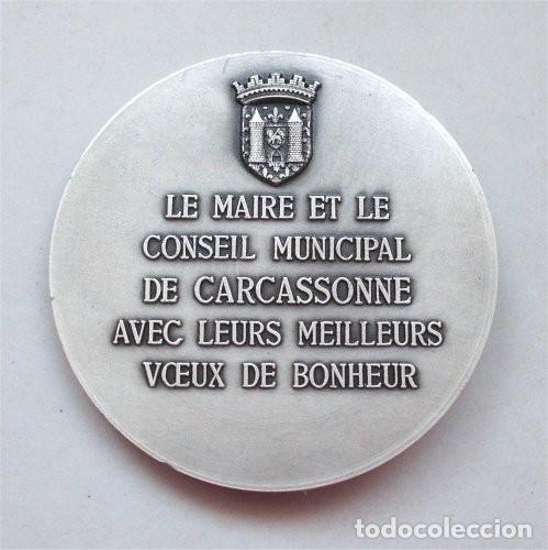 Trofeos y medallas: Medalla y estuche del Ayuntamiento de Carcassonne (Carcasona - Francia) Medallista Drago. París-Nice - Foto 5 - 263732520