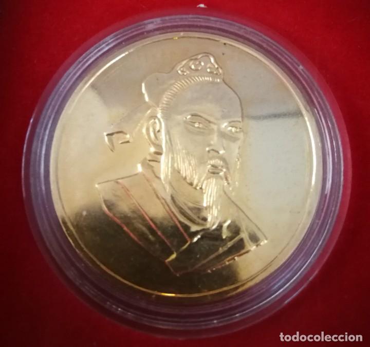 Trofeos y medallas: MEDALLA CHINA BAÑADA EN ORO 24K EN SU ESTUCHE ORIGINAL - Foto 3 - 265733929