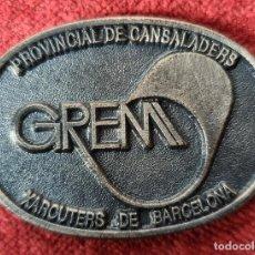 Trofeos y medallas: MEDALLA DE METAL PLATEADO. GREMIO PROVINCIAL DE CARNICEROS DE BARCELONA. SIGLO XX.. Lote 269188963