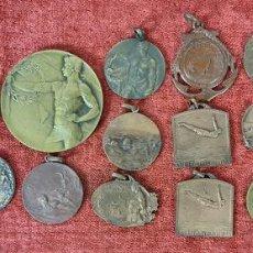 Trofeos y medallas: COLECCION DE 19 MEDALLAS DEPORTIVAS. BRONCE Y COBRE. 1915/1925.. Lote 277710723