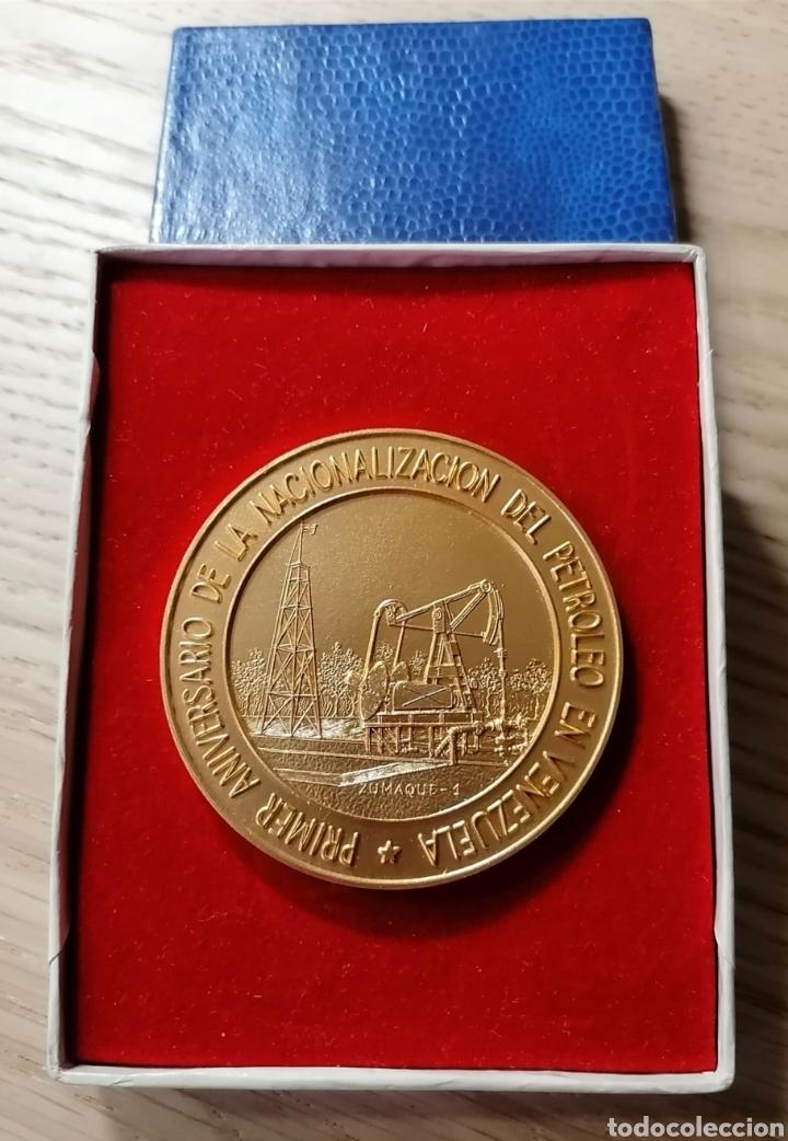 MEDALLA PRIMER ANIVERSARIO DE LA NACIONALIZACIÓN DEL PETRÓLEO DE VENEZUELA - MARACAIBO 1976-1977 (Numismática - Medallería - Trofeos y Conmemorativas)