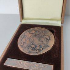 Trofeos y medallas: MEDALLA EN BRONCE 100 AÑOS CÁMARA DE COMERCIO MÁLAGA POR JULIO HERNANDEZ. Lote 293996253