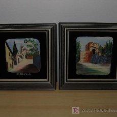 Varios objetos de Arte: PAREJA DE CUADROS PINTADOS A MANO SOBRE CRISTAL. Lote 7667151
