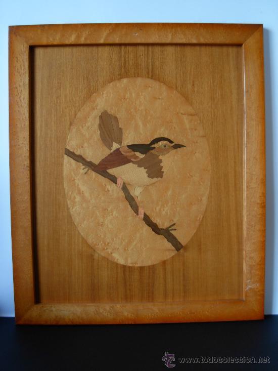Cuadro en madera representando p jaro t cnica comprar - Madera para marqueteria ...