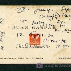 Varios objetos de Arte: *JOAN VILA CASAS* PINTOR. TARJETA MEDS: 64 X 105 MMS. CON INTERESANTES ANOTACIONES, APROX 1954.. Lote 13608580