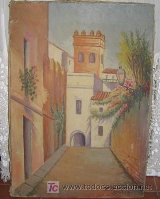 PINTURA EN LIENZO DEL BARRIO DE SANTA CRUZ, SEVILLA (Arte - Varios Objetos de Arte)