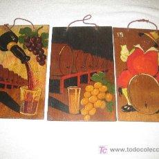 Varios objetos de Arte: LOTE DE TRES PEQUEÑAS MADERAS PINTADAS A MANO CON MOTIVOS VINICOLAS - ANTIGUAS. Lote 15019888