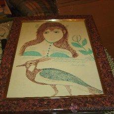 Varios objetos de Arte: ANTIGUO CUADRO CON LÁMINA PINTADA A MANO Y CRISTAL . MEDIDAS 50X38. Lote 26105770