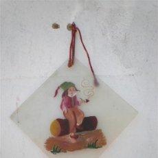 Varios objetos de Arte: PINTURA EN CRISTAL HOMBRE FUMANDO PIPA. Lote 19227779