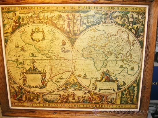 cuadro del mapa mundi antiguo bonito  Comprar en todocoleccion