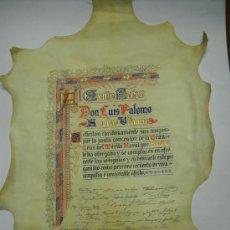 Varios objetos de Arte: DOCUMENTO EN PERGAMINO PINTADO A MANO. CONCESIÓN DE LA GRAN CRUZ NAVAL AL SENADOR LUIS PALOMO . Lote 26181665