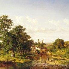 Varios objetos de Arte: CARLOS DE HAES (BRUSELAS-1829- MADRID-1898) CUADRO CON LIENZO IMPRESO ENVEJECIDO. Lote 27362629