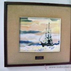 Varios objetos de Arte: ANTIGUO AZULEJO FIRMADO BARCO BUQUE POLAR F.R.A.M . Lote 27374004