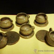 Varios objetos de Arte: JUEGO DE 6 TAZAS Y 6 PLATOS.- CERAMICA POPULAR - HECHOS A MANO.- ART. DESCONOCIDO. - MINIATURA - RN. Lote 21662992