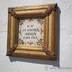 Varios objetos de Arte: MARCO DORADO Y AZULEJO . Lote 21736985
