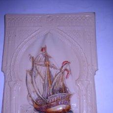 Varios objetos de Arte: REPRODUCCION AUTENTICA EN MARFIL ARTIFICIAL DE LA CARABELA SANTA MARIA. 18,5X25 CM.. Lote 22122627