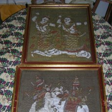 Varios objetos de Arte: BUDA ,,2 X CUADROS DE SEDA ORIENTAL ANTIGUO. Lote 27529918