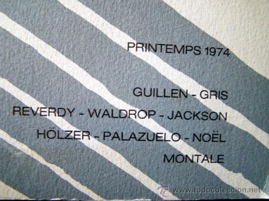 Varios objetos de Arte: ARGILE II. PRIMAVERA 1974. TEXTOS DE REVERDY, WALDROP, JACKSON.ILUSTRADO PALAZUELO/ GRIS. - Foto 2 - 26905815