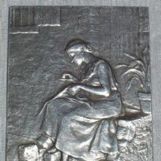 Varios objetos de Arte: ANTIGUA PLACA DE PLATA FRANCESA, BIFRONTE, FIRMADA. SXIX. Lote 27236603