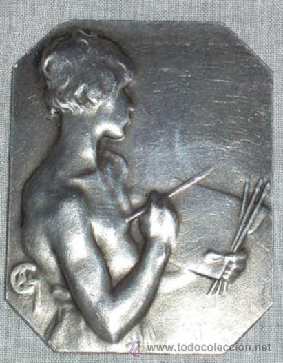 ANTIGUA PLACA DE PLATA FRANCESA, BIFRONTE, FIRMADA. SXIX (Arte - Varios Objetos de Arte)
