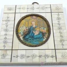 Varios objetos de Arte: MINIATURA DE VIRGEN CON NIÑO. MARCO: 14X12,5 CM. MINIATURA: 8 X 6,5 CM.. Lote 24756685