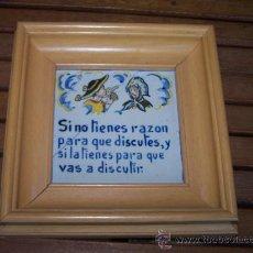 Varios objetos de Arte: ANTIGUO BALDOSIN PINTADO CON REFRAN.. Lote 26570167