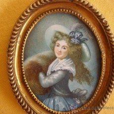 Varios objetos de Arte: MINIATURA PINTADA A MANO SOBRE PLACA DE MARFIL. APROX. 1880. Lote 26617717