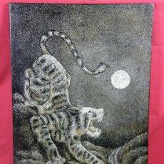 Varios objetos de Arte: PANEL C/ TIGRE SOBRE TABLA LACA CÁSCARA DE HUEVO EN DISTINTOS COLORES MEDIADOS S XX TRABAJO ASÍATICO. Lote 27952174